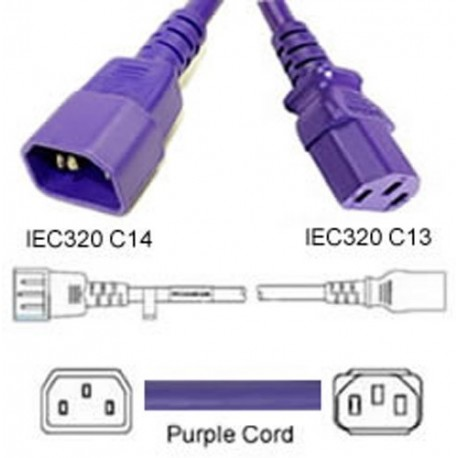 Purple Power Cord C14 Male to C13 Female 3.0 Meters 10 Amp 250