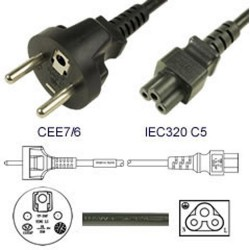 France CEE 7/6 Male to C5 Female 1.8 Meters 2.5 Amp 250 Volt