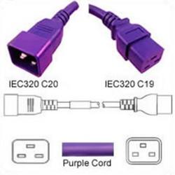 Purple Power Cord C20 Male to C19 Female 1.8 Meters 20 Amp 250