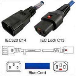 IEC-Lock C14 Male to C13 Female Locking 0.5 Meter 10 Amp 250