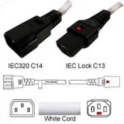 IEC-Lock C14 Male to C13 Female Locking 1.0 Meter 10 Amp 250