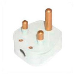 India BS546 5 Amp 250 Volt White Down Angle Entry Male Plug