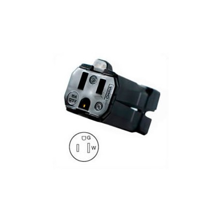 Hubbell HBL5969VBLK NEMA 5-15 Female Connector - Valise, Black