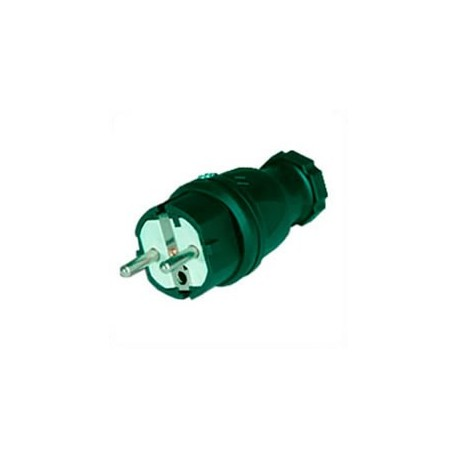 Schuko CEE 7/7 16 Amp 250 Volt Black Straight Entry Male Plug -