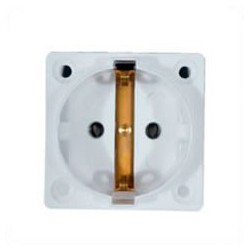 Euro CEE 7/3 16 Amp 250 Volt White Panel Mount Wall Socket -