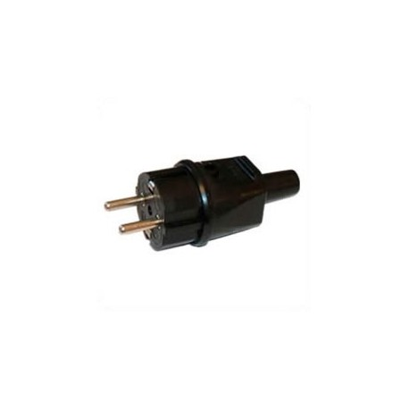 Germany CEE 7/4 16 Amp 250 Volt Black Straight Entry Male Plug