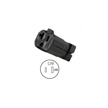 Hubbell HBL5369VBK NEMA 5-20 Female Connector - Valise, Black