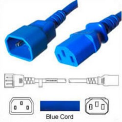 Blue Power Cord C14 Male to C13 Female 1.0 Meter 10 Amp 250