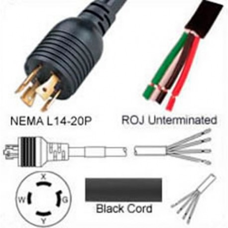 Locking NEMA L14-20 Male to ROJ Unterminated Female 3.2 Meters