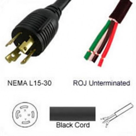 Locking NEMA L15-30 Male to ROJ Unterminated Female 3.2 Meters