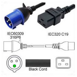 IEC 60309 316P6 Male to C19 Female 4.5 Meters 16 Amp 250 Volt