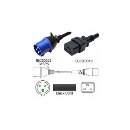 IEC 60309 316P6 Male to C19 Female 2.5 Meter 16 Amp 250 Volt