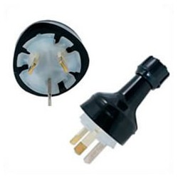 Australia AS 3112 10 Amp 250 Volt Black Straight Entry Male Plug