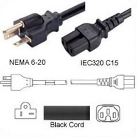 NEMA 6-20 Male to C15 Female 1.8 Meters 15 Amp 250 Volt 14/3