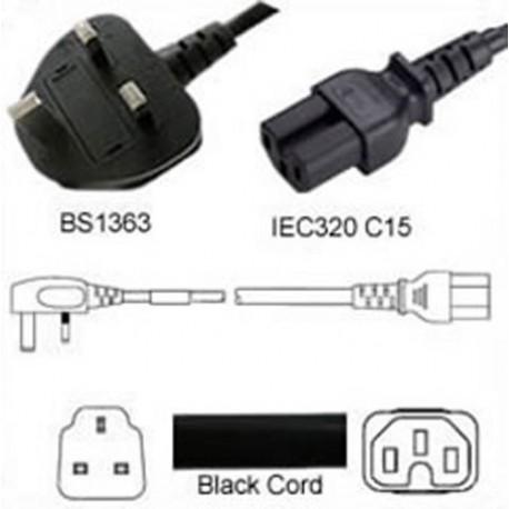 U.K. BS 1363 Down Male to C15 Female 2.5 Meters 10 Amp 250 Volt