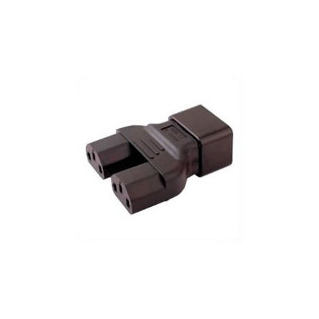 C20 Plug to x2 C13 Connector Block Adapter - Black