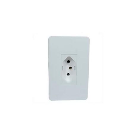 Brazil NBR 14136 10 Amp 250 Volt White Panel Mount Wall Socket