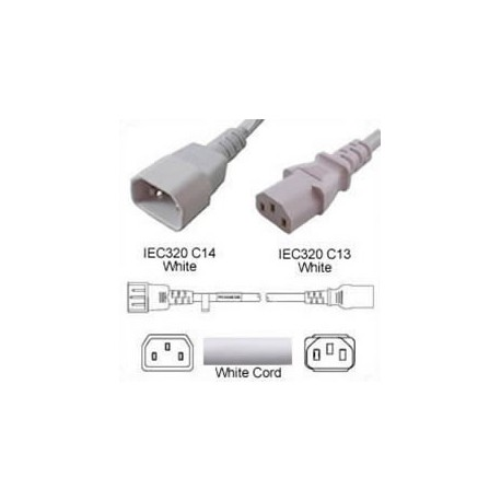 White Power Cord C14 Male to C13 Female 1.0 Meter 10 Amp 250