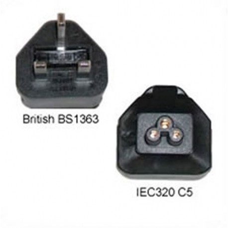 U.K. BS 1363 Male Plug to C5 Female Connector 3 Amp 250 Volt