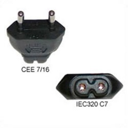 European CEE 7/16 Male Plug to C7 Female Connector 2.5 Amp 250