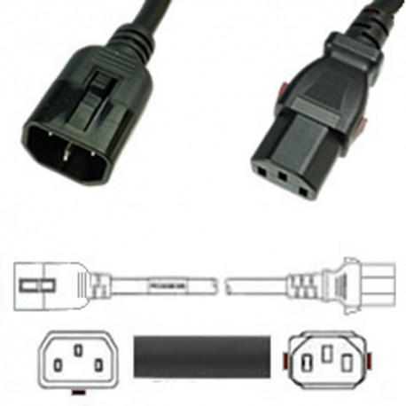 W-Lock C14 Male to C13 Female 0.3 Meter 10 Amp 250 Volt