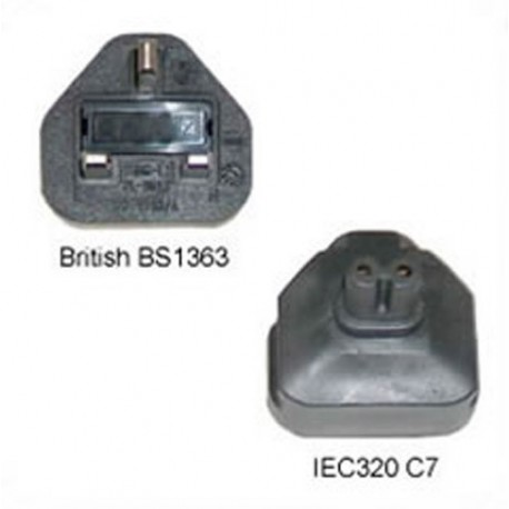 U.K. BS 1363 Male Plug to C7 Female Connector 3 Amp 250 Volt