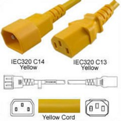 Yellow Power Cord C14 Male to C13 Female 3.0 Meters 10 Amp 250