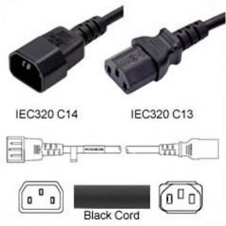 C14 Male to C13 Female 0.4 Meter 15 Amp 250 Volt 14/3 SJT Black