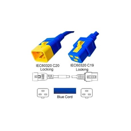 V-Lock C20 Male to V-Lock C19 Female 1.8 Meters 16 Amp 250 Volt