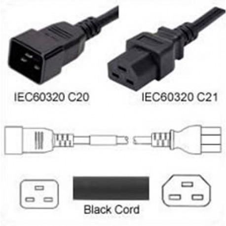 C20 Male to C21 Female 1 Meter 20 Amp 250 Volt 12/3 SJT Black