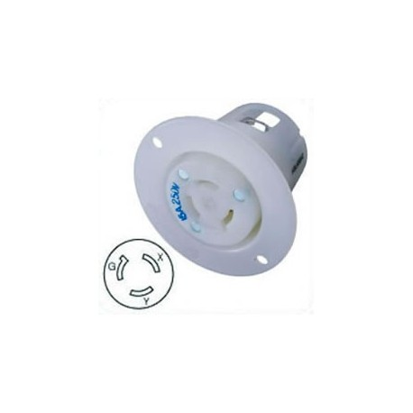 Hubbell HBL4585C NEMA L6-15 Flanged Female Outlet - White