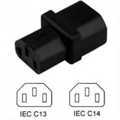 C14 Plug to C13 Connector Block Adapter - Black CE