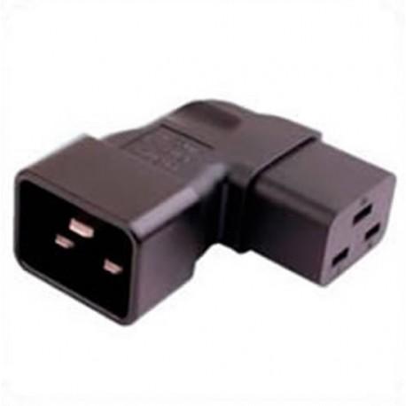 IEC 60320 C20 Plug to IEC 60320 C19 Connector Left Angle Block