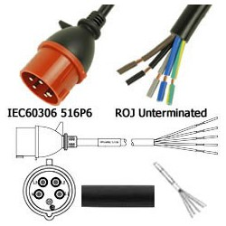 IEC 60309 516P6 Male to ROJ Unterminated Female 3.2 Meters 16
