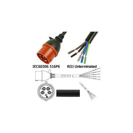 IEC 60309 516P6 Male to ROJ Unterminated Female 3.2 Meters 16