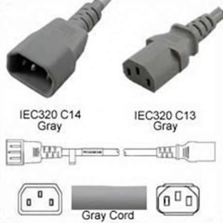 Gray Power Cord C14 Male to C13 Female 0.9 Meters 10 Amp 250