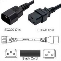 C14 Male to C19 Female 0.3 Meter 15 Amp 250 Volt 14/3 SJT Black
