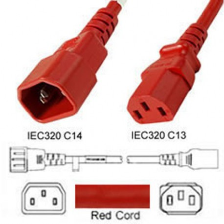 Red Power Cord C14 Male to C13 Female 2.0 Meters 10 Amp 250