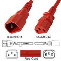 Red Power Cord C14 Male to C13 Female 0.4 Meters 10 Amp 250