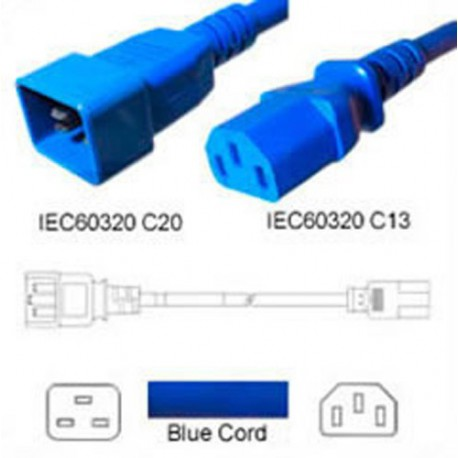 Blue Power Cord C20 Male to C13 Female 1.0 Meter 10 Amp 250