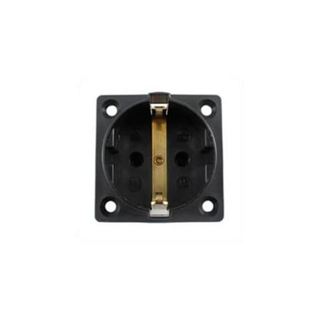 Euro CEE 7/3 16 Amp 250 Volt Black Panel Mount Wall Socket -