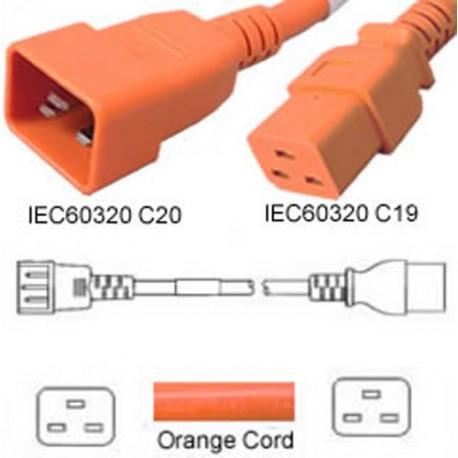 Orange Power Cord C20 Male to C19 Female 0.5 Meter 16 Amp 250