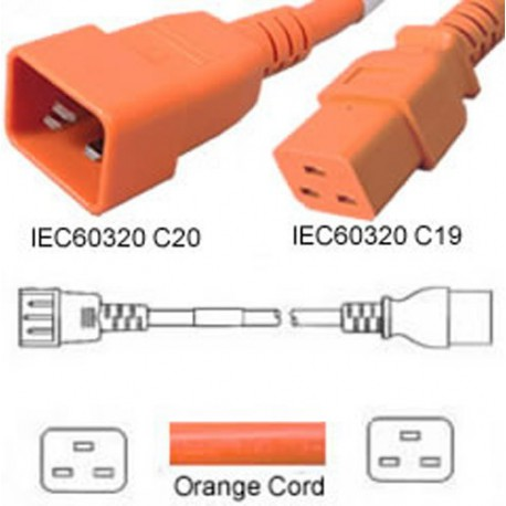 Orange Power Cord C20 Male to C19 Female 1.0 Meter 16 Amp 250