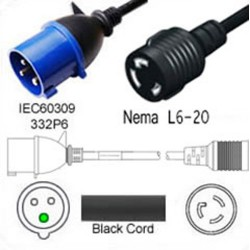 IEC 60309 332P6 Plug to North America NEMA Locking L6-20 Female