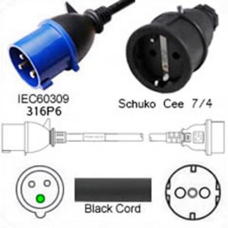 IEC 60309 316P6 Plug to Schuko CEE 7/4 Female 0.3 Meter Plug