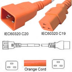 Orange Power Cord C20 Male to C19 Female 0.5 Meter 20 Amp 250