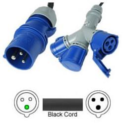 Splitter IEC 60309 316P6 Male to x3 IEC 60309 316C6 Female 1.5