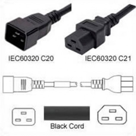 C20 Male to C21 Female 2.5 Meter 20 Amp 250 Volt 12/3 SJT Black