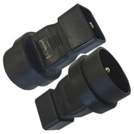 C20 Male to Schuko CEE7/5 Female Connector Block Adapter - Black