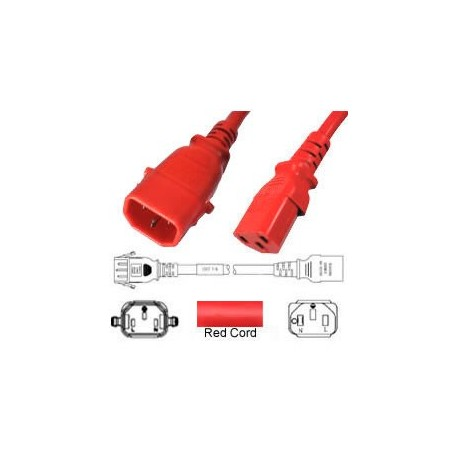 P-Lock C14 Male to C13 Female 1.0 Meter 10 Amp 250 Volt H05VV-F